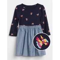 Plaid Mix-Fabric Dress