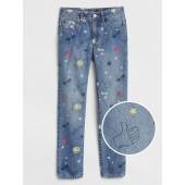 Superdenim Girlfriend Jeans in Emoji Print with Fantastiflex