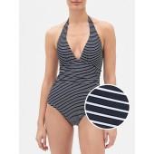 Stripe Halter Swim One-Piece