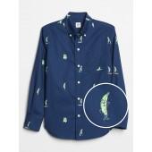 Poplin Print Long Sleeve Shirt