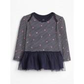 Baby Stripe Tulle-Hem Long Sleeve T-Shirt