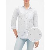 Print Fitted Boyfriend Shirt