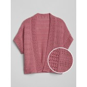 Kids Pointelle Cardigan Crop Sweater