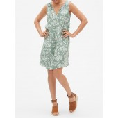 Print Split-Neck Shift Dress in Rayon