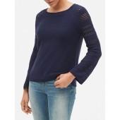 Open-Stitch Bell-Sleeve Sweater