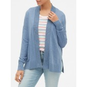 Open-Front Cardigan in Slub