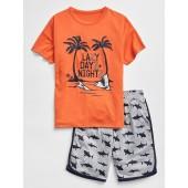 Kids Shark Graphic Short PJ Set