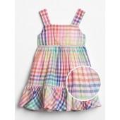 Baby Rainbow Plaid Peplum Dress