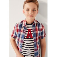 Kids Poplin Plaid Short Sleeve Shirt