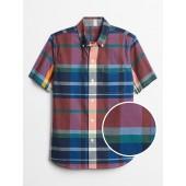 Kids Plaid Short Sleeve Shirt in Poplin