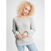 Ribbed Crossback Crewneck Sweater