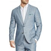 Trim Fit Chambray Cotton Blazer