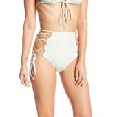 High Waist Side Lace-Up Bikini Bottoms