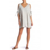 Norah Striped Cold Shoulder Tunic Cover-Up