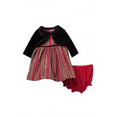 Cardigan, Plaid Dress & Bloomer Set (Baby Girls 12-24M)