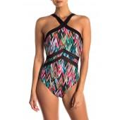 High Frequency Halter Neckline One-Piece Swimsuit