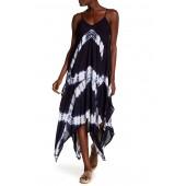 Tie-Dye Handkerchief Hem Maxi Dress
