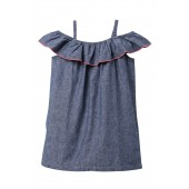 Chambray Ruffle Neck Dress (Toddler, Little Girls, & Big Girls)