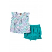 Jungle Floral Button Shoulder Top & Bloomer Set (Baby Girls)