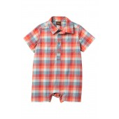 Plaid Buttoned Romper (Baby Boys)