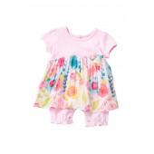 Spring Blossom Pleated Skirt Bodysuit (Baby Girls)