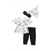 Rainbow Unicorn Cold Shoulder, Pants, Hat, & Headband Set (Baby Girls)