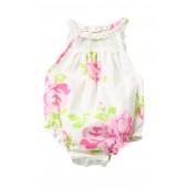 Lace Yoke Floral Sunsuit (Baby Girls)