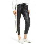 Side Stripe Faux Leather Jogger Pants
