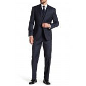 Charcoal Windowpane Two Button Notch Lapel Vested Wool Suit