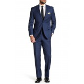 Blue Check Two Button Notch Lapel Wool Suit