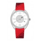 Womens Reptile Embossed Leather Watch, 34mm