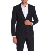 Black Solid Two Button Notch Lapel Jacket
