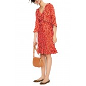 Fluted Wrap Style Stretch Jersey Dress