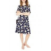 Fluted Sleeve Ponte Fit & Flare Dress