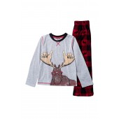 Moose Holiday Plaid Sleep Set (Big Boys)