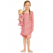 Red & White Matching Doll Pajama Set (Little Girls)