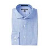 Tonal Check Trim Fit Dress Shirt