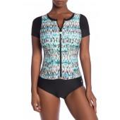 Tadasana Rashguard Zip One-Piece Swimsuit