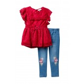 Lace Top & Jeggings Set (Little Girls)
