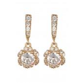 CZ Pave Floral Drop Earrings