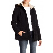 Faux Shearling Quilted  Hooded Jacket