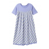 Girl Tropical Stripe Print Classic Short Sleeve Swing Dress (Baby, Toddler, & Little Girls)