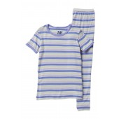 Printed Girl Tropical Stripe Short Sleeve Pajama Set (Baby & Toddler Girls)