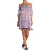 Patterned Cold Shoulder Cover-Up Dress