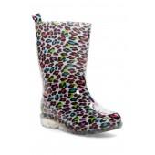 Shiny Multi Pop Leopard Rainboot (Little Kids & Big Kids)