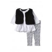 Faux Shearling Vest, Dress & Leggings Set (Baby Girls)
