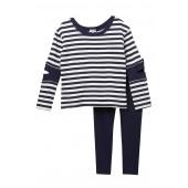 Stripe Cutout Tunic & Legging Set (Toddler Girls)