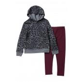 Leopard Print Hoodie Set (Little Girls)