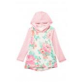 Printed Floral & Stripe Hoodie Top (Little Girls)