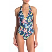 One-Piece Halter Neck Floral Printed Swimsuit